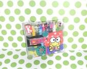 VINTAGE Sanrio KEROPPI mini colored pencils in a mini vinyl purse Hello Kitty Sanrio Collector