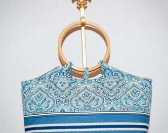 Fabric Handbag/Tote - Summertime Blues Quilted Purse with wood handles