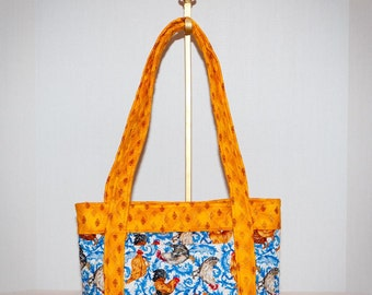 Fabric Handbag - French Country Rooster Purse