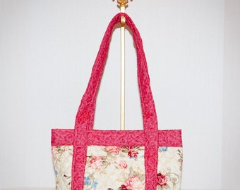 Fabric Handbag Quilted Purse - Cream Floral Quilted Purse