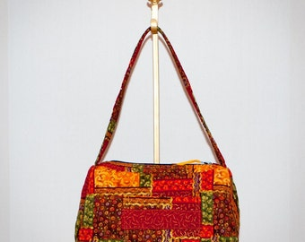 Fabric Handbag - Fall Splendor Quilted Saddle Bag Purse