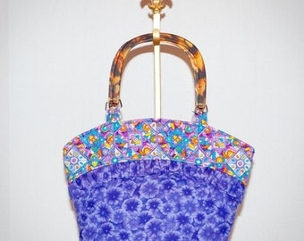 Fabric Handbag/Tote - Purple Morning Glory Quilted Purse