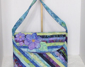 Large Quilted Batik Purse - Lilianna Shades of Blue Cotton Batik Quilted Purse II