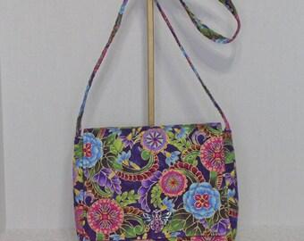Fabric Handbag Saddlebag - Purple Medallion Print Cotton Quilted Saddlebag Crossbody Purse