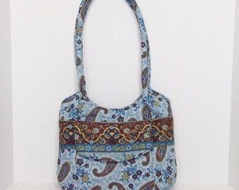 Fabric Handbag Hobo - Teal with Brown Paisley Quilted Cotton Hobo Purse