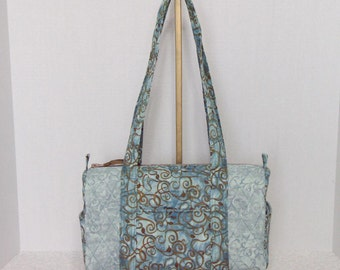 Fabric Handbag Satchel - Light Teal and Brown Quilted Satchel Purse