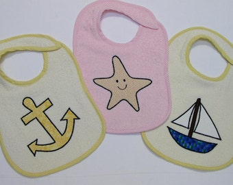 Sailing Toddler Bib Set - A Day Sailing -3 Appliqued Terrycloth Toddler Bibs for girls