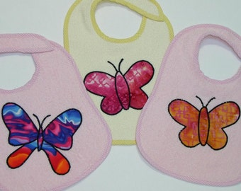 Butterfly Toddler Bib Set - Butterflies Galore -3 Appliqued Terrycloth Toddler Bibs for girls
