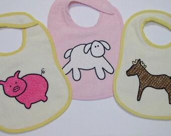 Lamb Pig Horse Toddler Bib Set - Down on the Farm - 3 Appliqued Terrycloth Toddler Bibs for girls