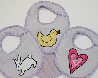 Infant Baby Girl Bib Set - Duck White Rabbit Pink Heart - 3 Appliqued Terrycloth Infant Bibs and 1 Burp cloth for girls