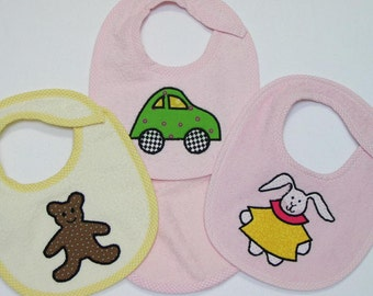 Infant Girl Baby Bib Set -Green Car Teddy Bear Girl Bunny - 3 Appliqued Terrycloth Infant Bibs and 1 Burp cloth for girls