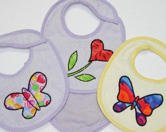 Infant Baby Girl Bib Set - Butterflies Heart Flower - 3 Appliqued Terrycloth Infant Bibs and 1 Burp cloth for girls