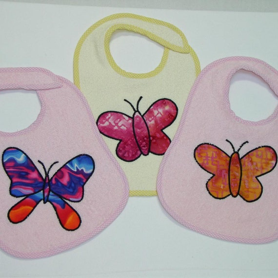 Butterfly Toddler Bib Set - Butterflies Galore -3 Appliqued Terrycloth Toddler Bibs for girls