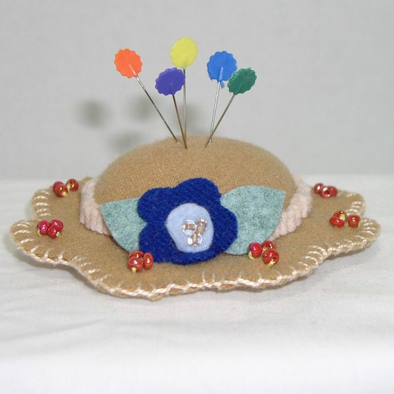 Hat Pin Cushion - Tan Wool Felt Handmade Hat Pin Cushion