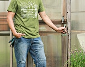 Vegetable Garden Mens T Shirt - LARGE - Army Green - Hand Screen Printed