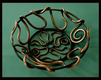 Delaforja Wrought Iron Fruit Bowl with Serpent Motif in Antique (Florentine) Bronze by Nyree L. Smith