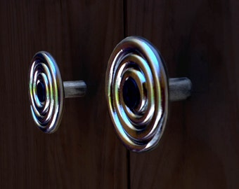 Delaforja (Pair) Spiral Cupboard/ Furniture Knobs in Chrome by Nyree L Smith