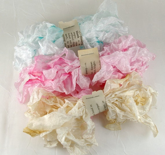 Hand Dyed and Crinkled Vintage Style Seam Binding Ribbon Pack-3 assorted colors