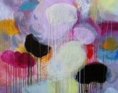 RESERVED ORDER - Mary meets the clown - Original abstract painting, canvas, acrylic, large, 40x40