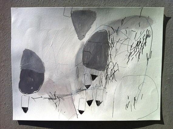 Hiver dernier - Original painting, acrylic, pencil, pastel on paper 12x9