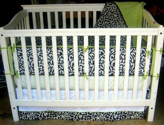 Crib Bedding- 5 Piece Set - Navy and Green Boy Set