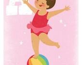 Acrobat Girls Art Print. 5x7 Initial print for Girls. Childrens Art.