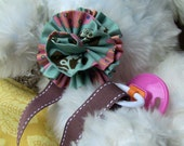 Fabric Flower Pacifier Clip with Brown Ribbon