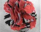 Two Pink Zebra Fabric Flower Pins