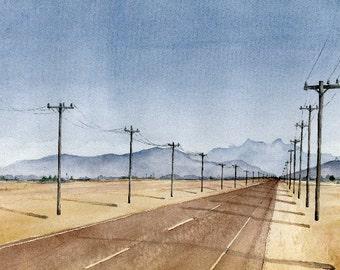Road Landscape w/ Telephone Poles | 'Miscommunication' | Watercolor | Archival Print