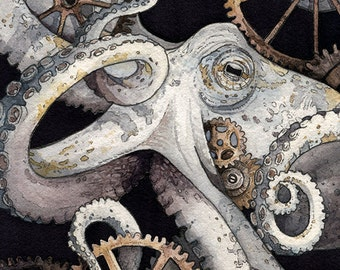 Octopus, Gears, Steam Punk | 'Sofia' | Watercolor | Archival Print