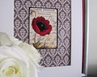 Floral French Post Card on Brown Damask Digital Print