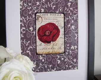 Floral French Post Card on Scroll Background Digital Print