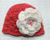 Coral shell hat with big white flower / Photo prop