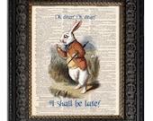 Alice in Wonderland WHITE RABBIT WATCH & Book Quote Art Print, Dictionary Art Print, Mixed Media Art, Wall Decor, Alice Book Art