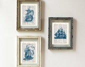 Vintage Clipper Ships Art Print Set -  Nautical Art Prints - Set of 3 SAILING SHIPS in Nautical BLUE on vintage dictionary pages mixed media