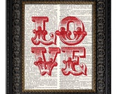 LOVE art print Wedding Gift Romantic Love Typography print on beautiful upcycled vintage dictionary page