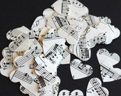 Wedding Confetti, 500 Hand Punched Hearts from Vintage Sheet Music