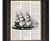Nautical Art Print SAILING SHIP 3 dictionary art print book page art on vintage dictionary page 8x10