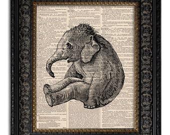 BABY ELEPHANT art print, nursery decor, mixed media print on vintage dictionary page, zoo safari baby decor, baby elephant art print