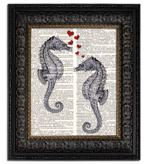SEAHORSE LOVE Seahorse Print Unique Gift Idea for Her Him 1st Anniversary Gift Paper Anniversary Valentines Day Gift Idea Nautical Coastal