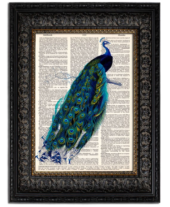 PEACOCK Art Print PEACOCK II Print on Dictionary Book Page Unique Gift Idea for Her Gift for Mom Home Office Wall Art Decor Vintage Bird Art