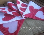 Valentines Red and White Heart Banner Bunting Decoration or Photo Prop