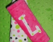 minky strap covers- Reversable,Custom Colors and personalized