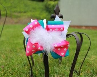 Pink Polka Dot Hair Bows - Pink and Teal Bow - Bow - Hair Clip