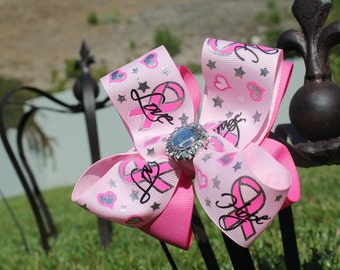 Breast Cancer Hair Bow - Pink Bow - Bling Hairbow - Girl Hair