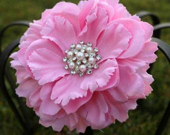 Pink Silk Peony Flower Clip - Sale Flower - Flower Hair - Flower Headband