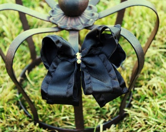 Black Satin Hair Bow - Black Bow - Big Bow -Boutique Bow