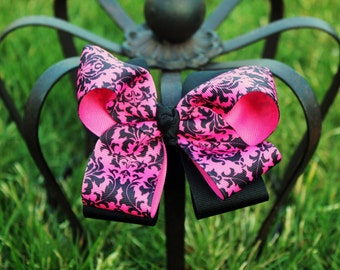Damask Baby Bow - Boutique Hair Bow - Hairbow - Baby Headband