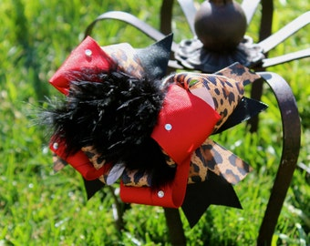 Cheetah Hair Bow -  Over the Top Bow - Leopard Hair Bow - Swarovski Bow