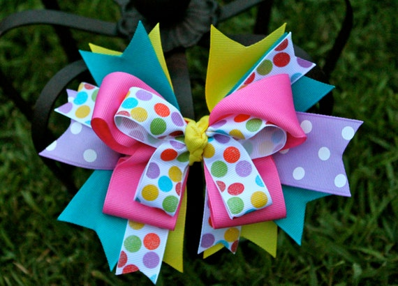 Hair Bow - Rainbow Hairbow - Over the Top Boutique Bow-  Spring Bow
